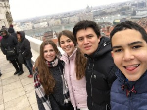 Fiona, Outbound to Slovakia, 2016-17. Budapest with the other exchange students from Trenčín and my lovely host sister.