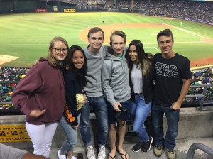Some of our 2017-2018 Inbounds enjoying an As baseball game!